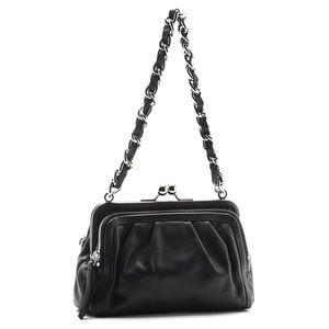 Coach Parker clutch Black leather chain link purse